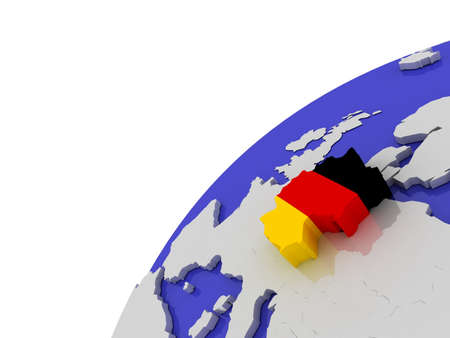 The flag of Germnany on the globe, 3D photo