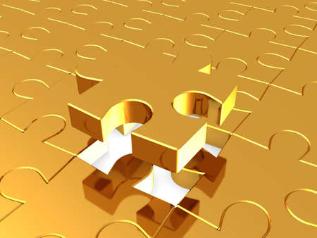 Puzzles gold, 3D Stock Photo