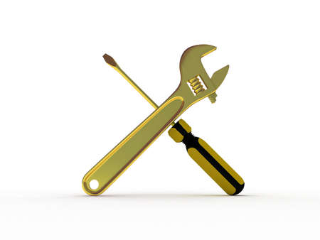 Spanner and screwdriver on white background, 3D photo