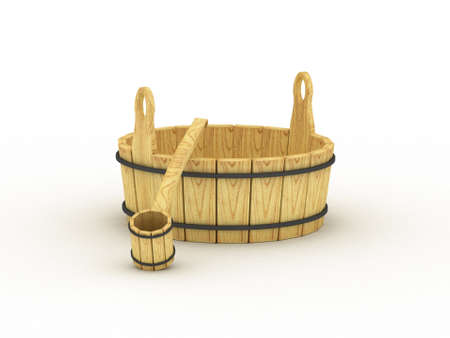 The old wooden tub. 3D photo