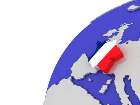 The flag of France on the  globe, 3D photo