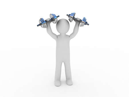 muscle training: Dumbbells and a man, 3D