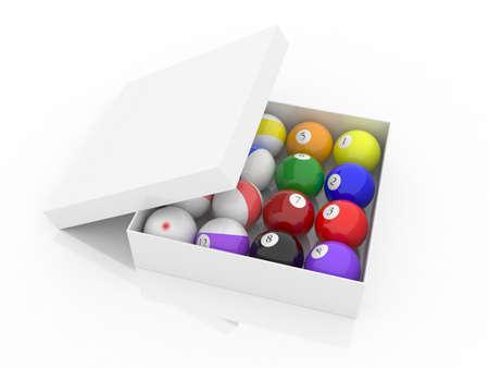 Billiard balls on white background, 3D photo
