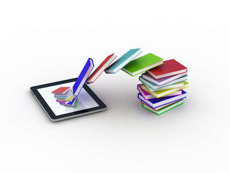 Books fly into your tablet, 3D Stock Photo