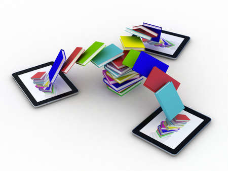 Books fly into your tablet, 3D photo