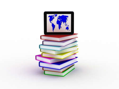 Books and  tablet, 3D Stock Photo - 11966108