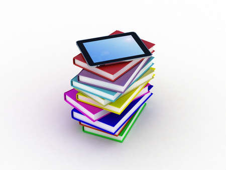 Books and  tablet, 3D Stock Photo - 11966207