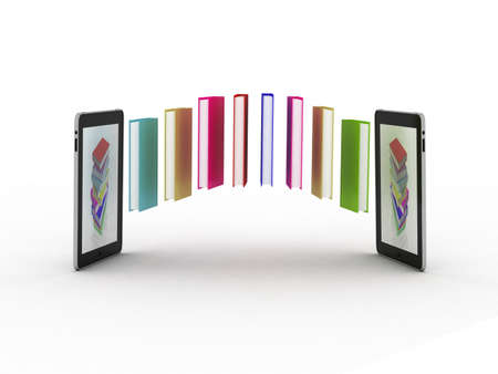 Books fly into your tablet, 3D Stock Photo - 11966106