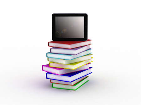 Books and  tablet, 3D Stock Photo - 11966083