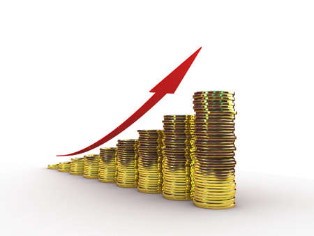 Coins and red arrow , 3D Stock Photo - 11966175