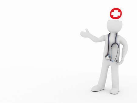 lak�hely: Az orvos és sztetoszkóp fehér alapon, 3D