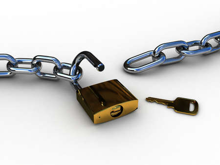 Chain and lock, 3D photo