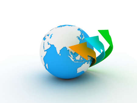 Globe and arrow on white background, 3D photo