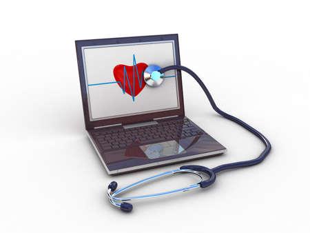 Stethoscope on black laptop, computer , 3D photo
