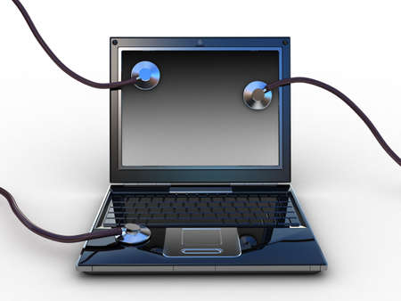 Stethoscope on black laptop, computer , 3D