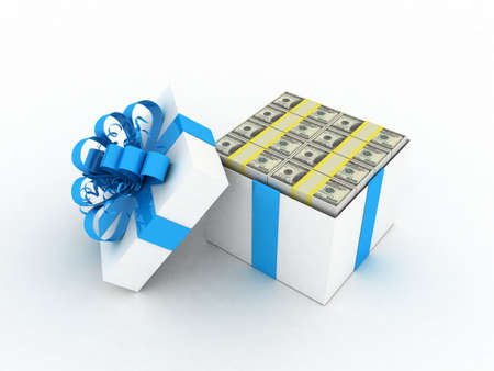 Gift white box and dollars, 3D photo