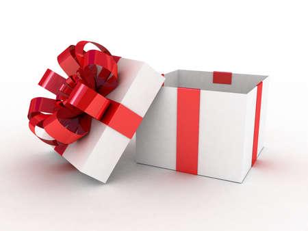 Gift white box, 3D photo