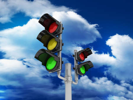 Traffic light isolated on sky background, 3D Stock Photo - 11966227