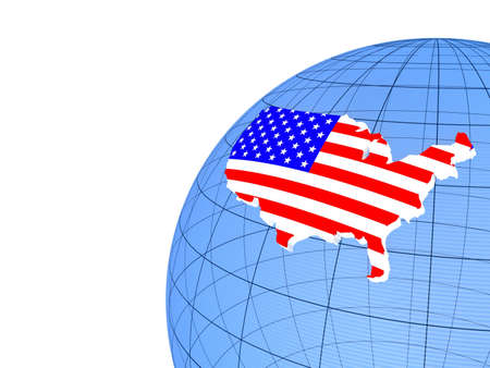 The flag of United States on the globe, 3D photo