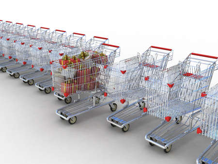 Shopping trolley and gifts, 3D photo