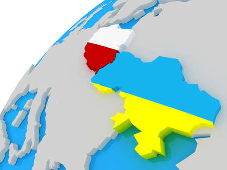 The Flag of Ukraine and Poland on the globe, 3D photo
