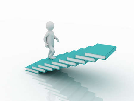 Man walking on the stairs of books, 3D