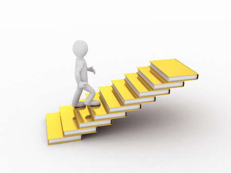 Man walking on the stairs of gold books, 3D