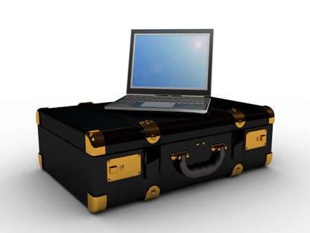 laptop in the suitcase, 3D photo