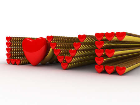 Love consisting of red and gold hearts, 3D