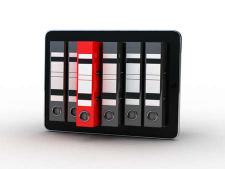 Tablet and colorful archive folders into the screen, 3D Stock Photo - 11966130