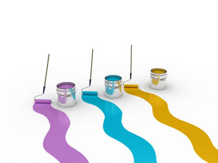 A bank with a paint roller, 3D photo