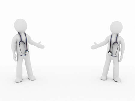 clinical staff: The doctor  and stethoscope on a white background, 3D Stock Photo
