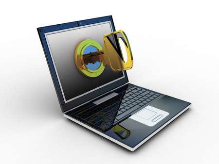 laptop and key on white background. Isolated 3D image Stock Photo - 11966198