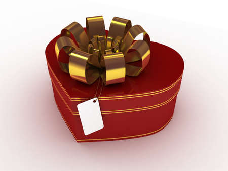 Gift red box, 3D photo