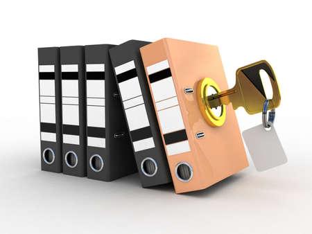 3d illustration of color folder locked with key