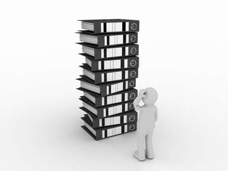 daunting: Folder for documents and man, 3D Stock Photo