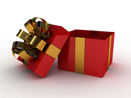 Gift  open red box, 3D