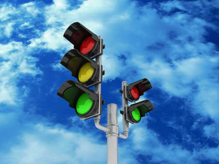 Traffic light isolated on sky background, 3D Stock Photo - 11966297
