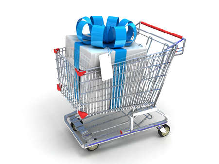 merchandise: Shopping trolley and gifts, 3D