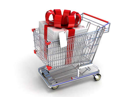 shoppingcart: Shopping trolley and gifts, 3D