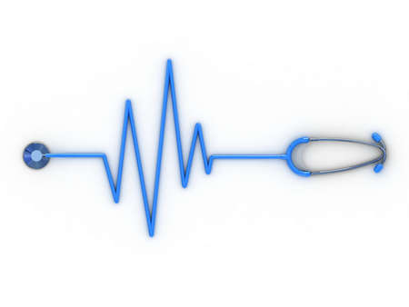 Stethoscope and cardiogram, 3D photo