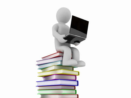 literary: The man with the books and laptop, 3D