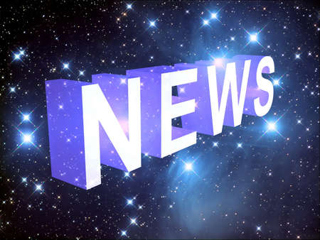 News on the background of the starry sky, 3D Stock Photo