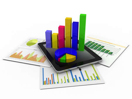 Tablet showing a spreadsheet and a paper with statistic charts, surrounded by some 3d charts Stock Photo - 11966160
