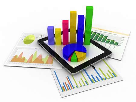 Tabla que muestra una hoja de cálculo y un papel con gráficos estadísticos, rodeado de algunos gráficos 3d Foto de archivo