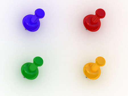 Color thumbtack on white background, 3D