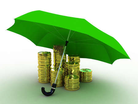 Money of gold under the umbrella of, 3D photo