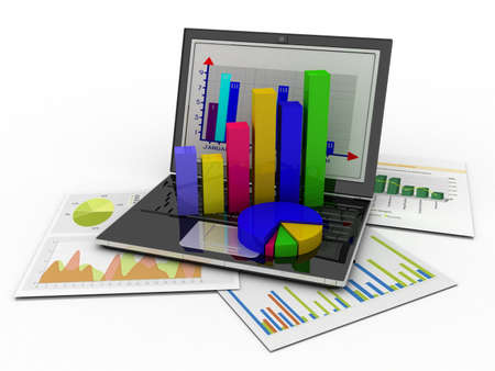 Laptop showing a spreadsheet and a paper with statistic charts, surrounded by some 3d charts