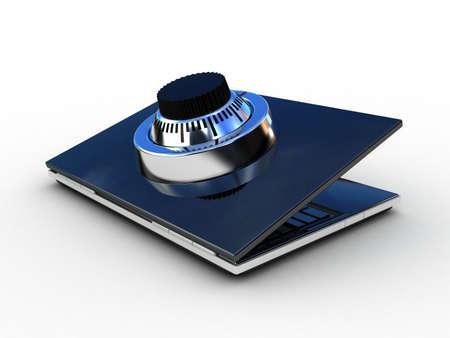 Safe laptop on white background, 3D Stock Photo - 11966150