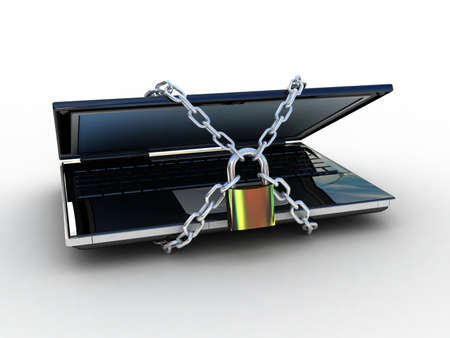 bug key: 3d illustration of laptop computer locked with chains and padlock Stock Photo